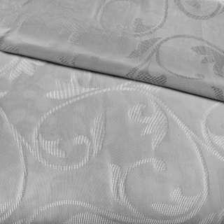 Льон гардинний жакардовий вензель гілочки сітчастий візерунок, сірий з обважнювачем, ш.300 оптом