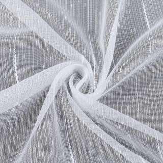 Льон гардини ниткові смуги з ущільненнями і штрихами, білий з обважнювачем, ш.260 оптом