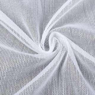 Лен гардинный белый в блестящие плотные ниточные полосы с утяж, ш.300 оптом