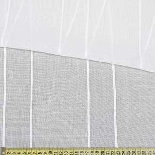Лен гардинный белый в витые жаккардовые полосы, с утяжелителем, ш.300 оптом