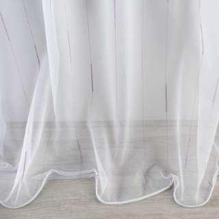 Сітка тюль смужки ниткові з віями бузкові, біла з обважнювачем, ш.300 оптом