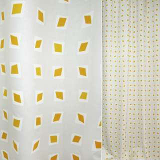 Сатин портьєрний білий з жовтим ромбом в білі квадрати ш.140 оптом