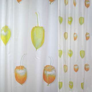 Сатин портьєрний білий з жовтими і помаранчевими квітами фізалісу ш.150 оптом