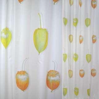 ткань порт.белая с желтыми и оранж. крур.бутон. ш.150 оптом