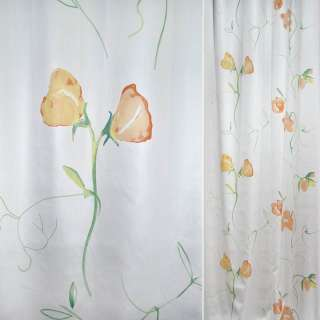 Сатин портьєрний білий з рожево-жовтими кучерявими високими квітами ш.140 оптом