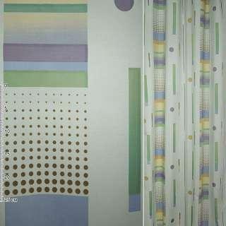 Деворе портьерное радуга голубое бледное с разноцветными полосками и точками ш.140 оптом