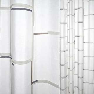 Деворе портьєрне біле з синьо-коричневими смужками по краях квадратів ш.140 оптом