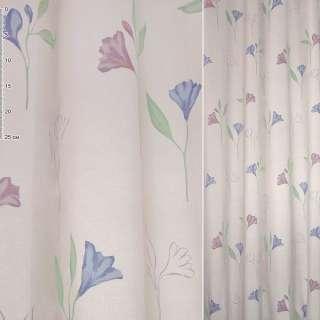 Деворе портьерное розовое с сиреневыми и голубыми цветами ш.140 оптом
