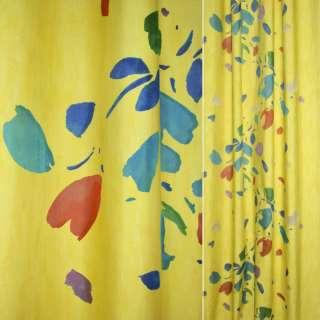 Деворе портьерное желтое с разноцветными пятнами ш.160 оптом