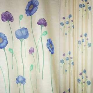 Деворе портьерное бежевое с синими и серыми высокими цветами ш.140 оптом