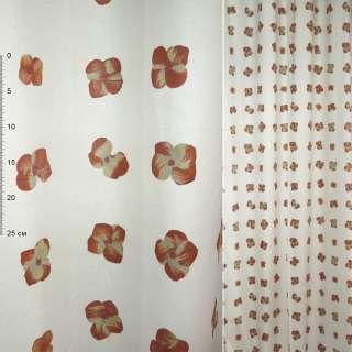 Деворе портьерное белое с терракотово-желтыми цветами ш.150 оптом