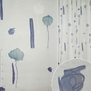 Деворе портьерное белое голубое с высокими цветами и синими прямоугольниками ш.140 оптом