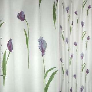 Деворе портьерное белое с фиолетово-сиреневыми высокими тюльпанами ш.135 оптом