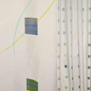 Деворе для штор квадрати салатово-блакитні, смуги різнокольорові на молочному тлі, ш.140 оптом