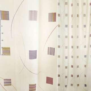 Деворе портьєрне молочне з рожево-жовтими квадратами і різнокольоровими смужками ш.140 оптом