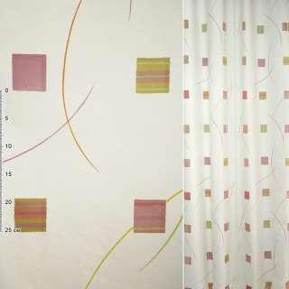 Деворе для штор квадрати рожево-жовті, смуги різнокольорові на молочному тлі, ш.140 оптом