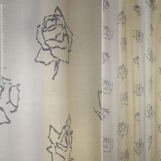 Деворе портьерное в бежево-серые полосы с темно-серыми розами, ш.170 оптом