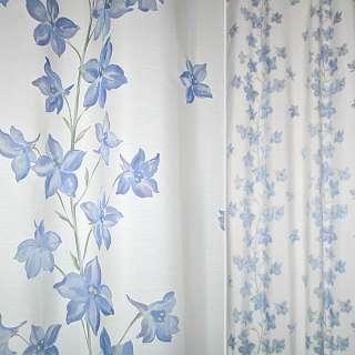 Деворе портьерное молочное с голубыми высокими цветами ш.140 оптом