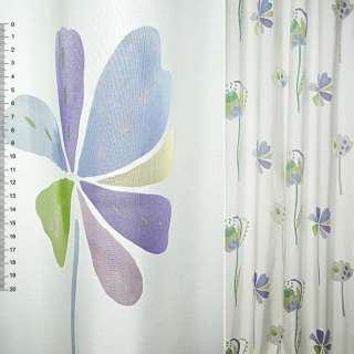 Деворе портьерное белое с крупными сиренево-голубыми цветами ш.140 оптом