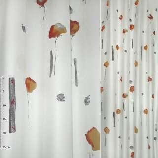 Деворе портьерное белое с высокими красно-персиковыми цветами и черными прямоугольниками ш.140 оптом
