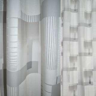 Деворе портьерное белое с серыми прямоугольниками и полосками ш.140 оптом