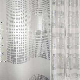 Девора для штор прямокутники дрібні прозорі сірі, квадрати сріблясті на білому тлі, ш.150 оптом