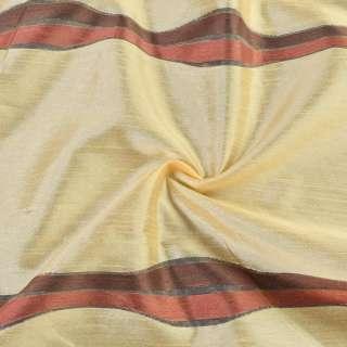 Деворе портьерное бежево-желтое с коричнево-терракотовыми полосками ш.150 оптом