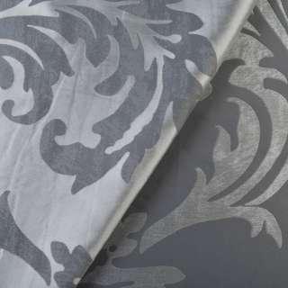 Атлас жаккард 2-сторонній сріблясто-сірий в листя, ш.140 оптом
