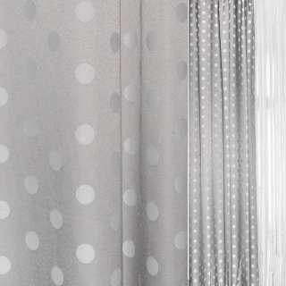 Жаккард серый в светлые и темные кружочки ш.140 оптом
