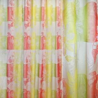 Шовк жакард 2-шаровий для штор квадрати квіти жовто-червоно-зелений, ш.300 оптом