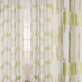 Жаккард атласный в бежевые, салатовые полосы с абстрактным рисунком, ш.140 оптом