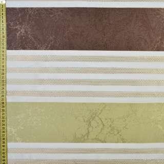 Атлас-лен портьерный жаккард молочно-оливковые полосы, ш.145 оптом