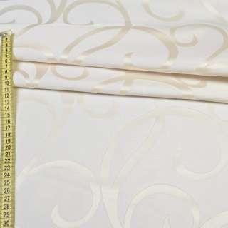 Атлас жаккард кремовий з молочними завитками, ш.150 оптом
