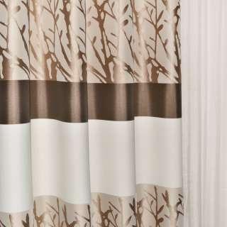 Жаккард в молочные коричневые бежевые полосы и коричневые ветки ш.140 оптом