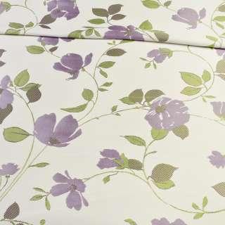 Атлас жаккардовый белый в веточки с фиолетовыми цветами, ш.150 оптом