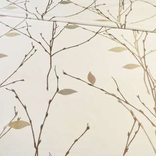 Атлас жаккардовый белый в коричневые веточки с бежевыми листьями, ш.154 оптом