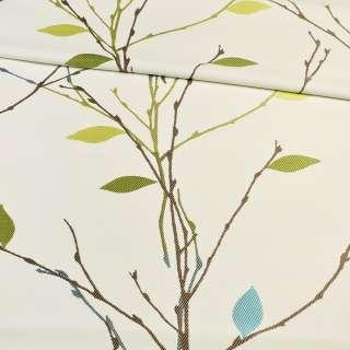 Атлас жаккардовый белый в веточки с зелено-голубыми листьями, ш.153 оптом
