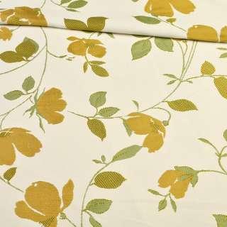 Атлас жаккардовый белый в веточки с золотыми цветами, ш.150 оптом