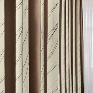Жаккард в молочные и коричневые широкие полосы и розчерки ш.144 оптом