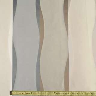Атлас портьерный жаккардовый молочно-серый в коричневые вьющиеся полосы, ш.305 оптом