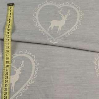 Жаккард портьерный серый светлый в молочные сердца с оленями, ш.140 оптом