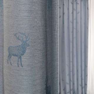 Жаккард портьерный серебристо-синий с оленями Германия ш.140 оптом