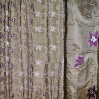 Жаккард бежево-серый с сиреневыми звездами  ш.280 оптом