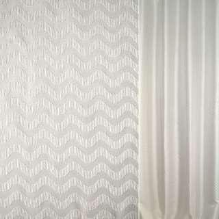 Жаккард молочно-сріблястий хвилі ш.146 оптом