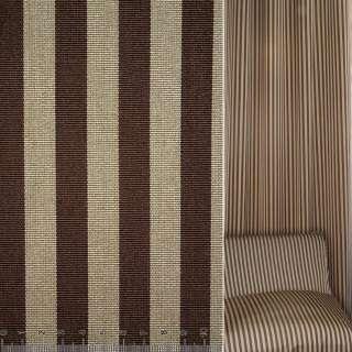 Жаккард рельефный коричнево-бежевые полоски ш.145 оптом