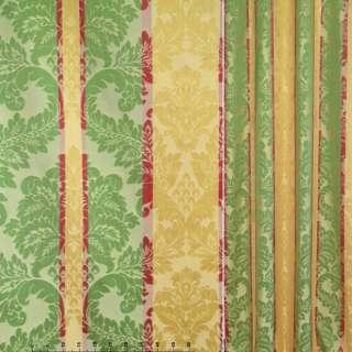 Жаккард золотые,зеленые,вишневые полоски с вензелями ш.140 оптом
