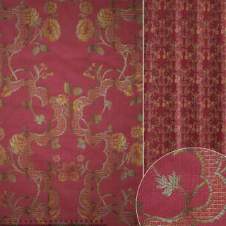 Жаккард вишневый в золотисто-зеленый цветочный узор  ш.141 оптом