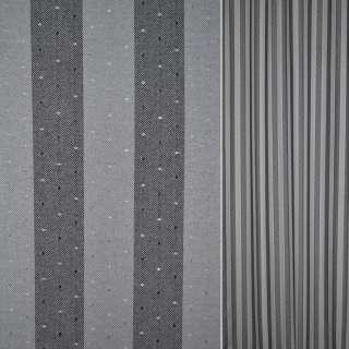 Коттон сірі чорні смужки з дрібними крапками ш.140 оптом