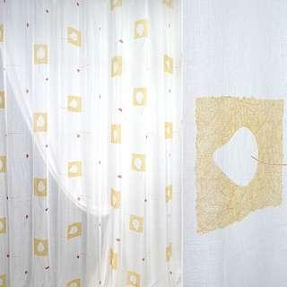 Муслин белый с желтымм квадратами, ш.280 оптом