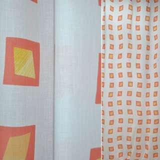 Батист портьєрний білий з жовтими ромбами в червоні квадрати ш.140 оптом